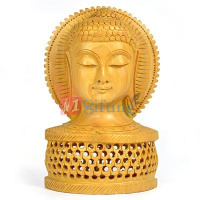 Buddha Head Handicraft Gift Wooden Jalidar with Base