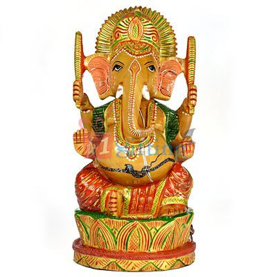 Beautiful Wooden Ganesha Handicraft Painted