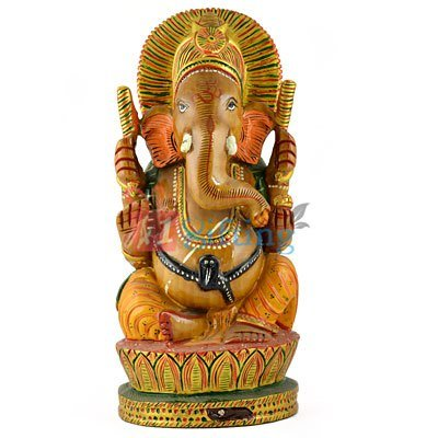 Wooden Beautiful Painted Handicraft Ganesha Statue