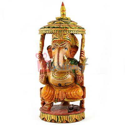 Amazing Chatri Ganesha in Wooden Painted