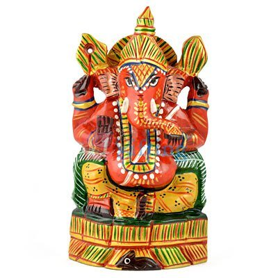 Wooden Ganesha Sindoor Color Painted