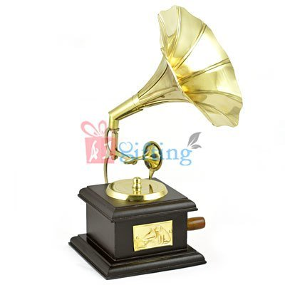 Brass and Wooden Gramophone Decorative Show Piece