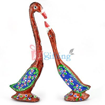 Duck Set - Loving Painted Swan Couple Showpiece