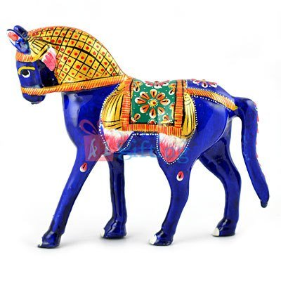 5 Inch Meenakari Work Painted Metallic Horse