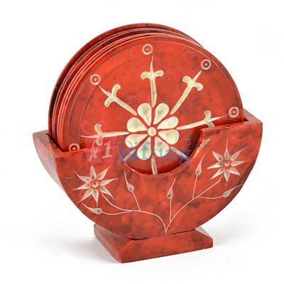 Red Marble Designer Tea Coaster
