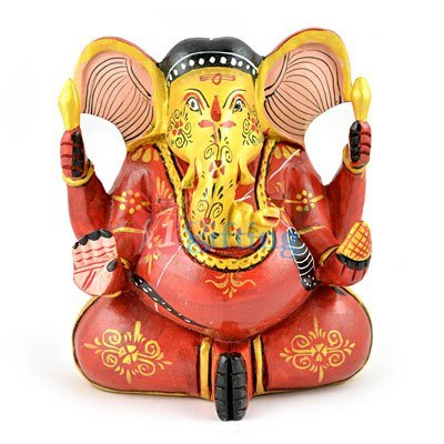 Wooden Painted Appu Ganesha 5 Inch