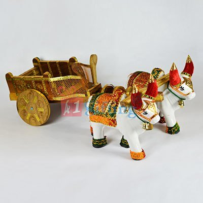 Bullock Cart - Wooden Cart and Ceramic Bullock Designer Home Decore Item