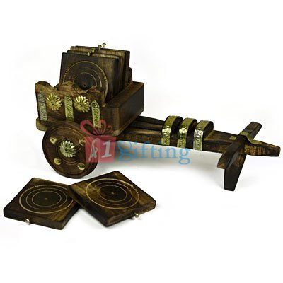 Designer Wooden Bullock Cart Handicraft Tea Coaster