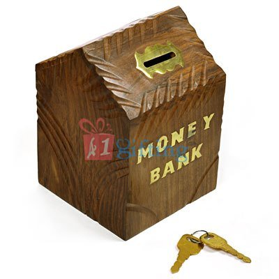 Wooden Hut Handicraft Money Coin Box for Kids