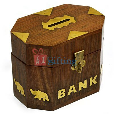 Octagonal Wooden Designer Money Coin Box