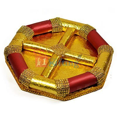 Golden Touch Octagonal Dry fruit Serving Tray