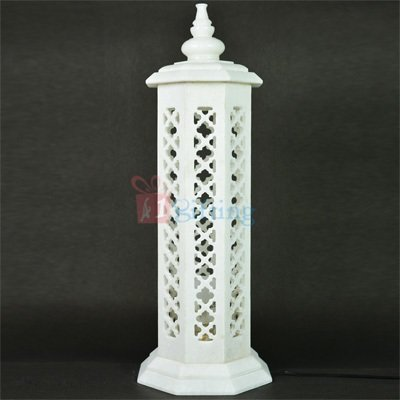 15 Inch Round Marble Bedroom Lamp Post