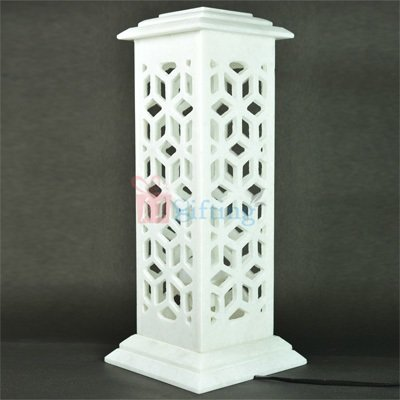 15 Inch Square Marble Antique Lamp Post