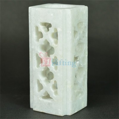 Carved Square Pure Marble Pen Holder