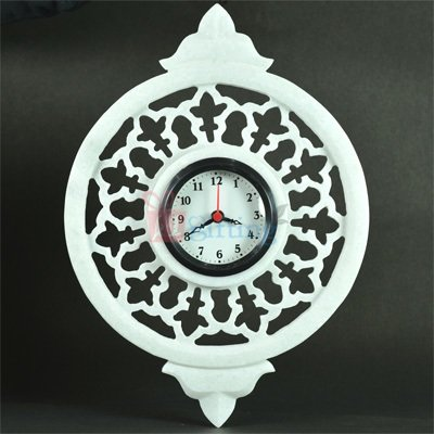 12x9 Inch Marble Carved Designer Wall Clock