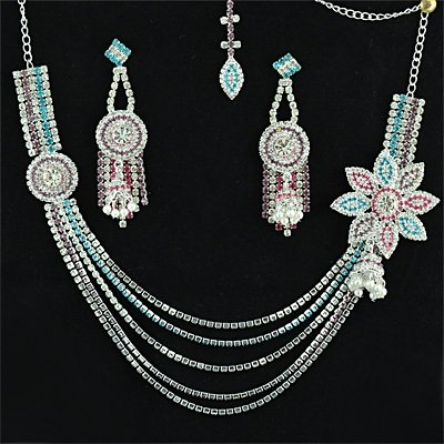 Fancy Flowers Chain Neclace Set Jewelry Silver Color