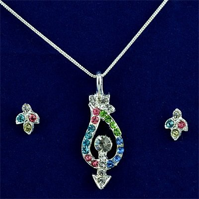 Simply Small Locket Set with Multicolor Diamonds
