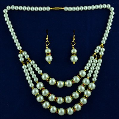 White Pearl Neclace Set Jewelry with Earings