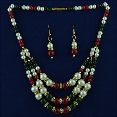 Multicolor Beads and Pearl Nacklace Set