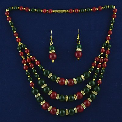 Beautiful Multicolor Beads with Diamond Studded Necklace