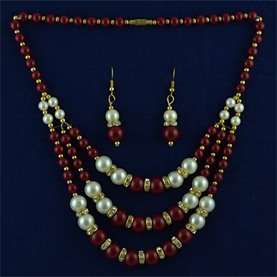 Maroon Beads with Pearl Necklace Set with Earings