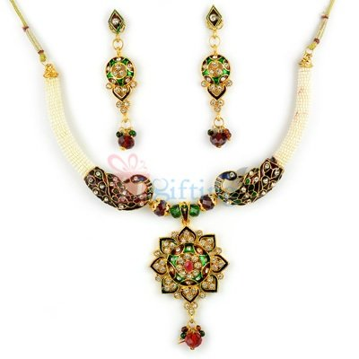 Party Wear Peacock Meena Diamon Necklace and Earrings Set