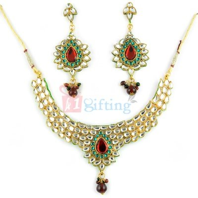 Special Kundan Jadau Necklace and Earrings Set