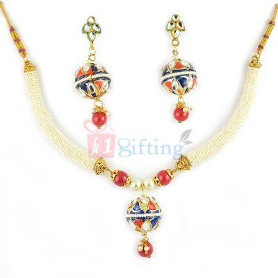 Beautiful Rope Lacquer Necklace with Earrings Set