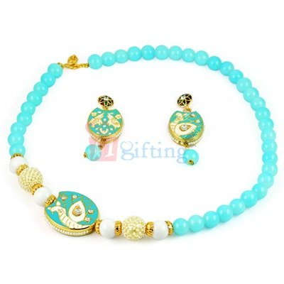 Amazing Beads Rope Necklace with Earrings Jewellry Set