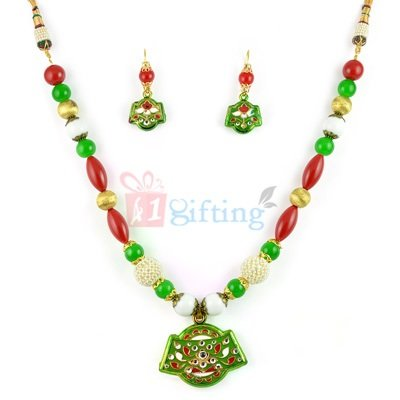 Beads Party Wear Lacquer Necklace with Earrings Jewellery Set
