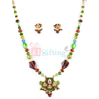Amazing Thewa Kundan Necklace with Earrings Set