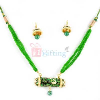 Peacock Meenakari Mangalsutra with Earrings Set