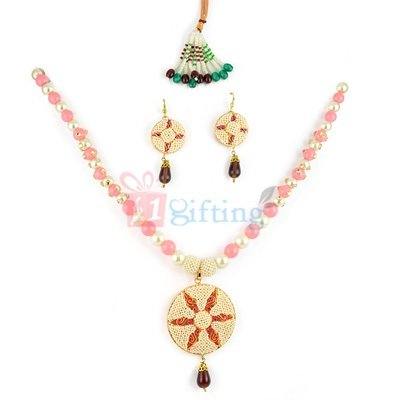 Fancy Party Wear Pendant Necklage with Earrings