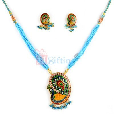 Traditional Peacock Meenakari Jewellry Necklace with Earrings
