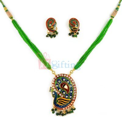Traditional Diamond Studded Peacock Necklace with Earrings