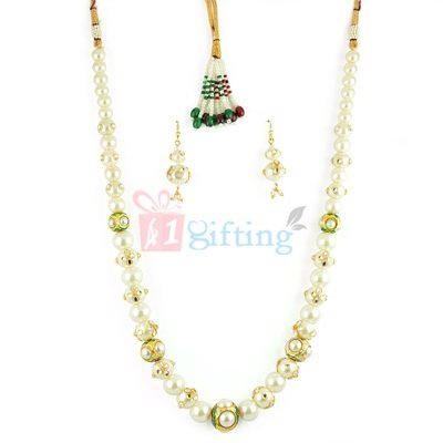 Amazing Pearl Jadau Necklace Set with Earrings