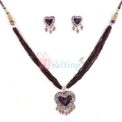 Amazing Party Wear Heart Shape Lacquer Necklace with Earrings