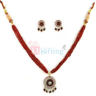 Lacquer Necklace Set with Earrings