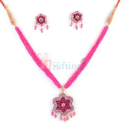 Party Wear Lacuqer Pink Necklace with Earrings