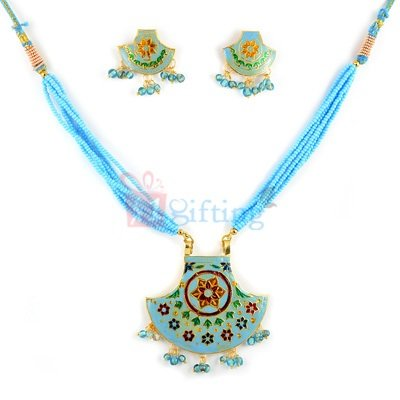 Party Wear Thewa Jewellry Necklace with Earrings