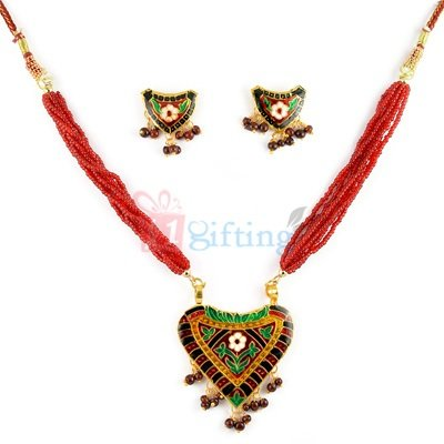 Heart Shape Thewa Jewellery Necklace with Earrings