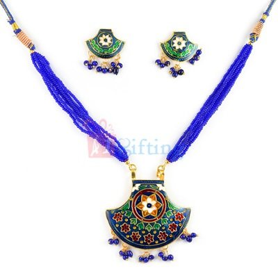 Traditional Thewa Necklace with Earrings