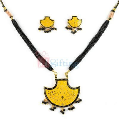 Party Wear Antique Necklace with Earring Set