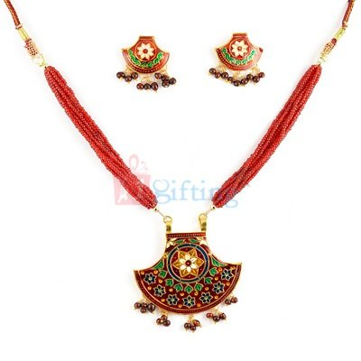 Traditional Designed Pendant and Earring Set