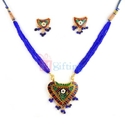 Meenakari Necklace Heart Shape Pendant with Earrings