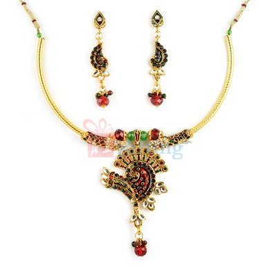 Amazing Party Wear Peacock Kundan Necklace with Earrings