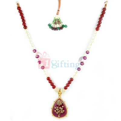 Photo Meena Kundan Necklace Set with Earrings