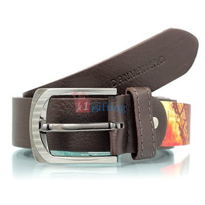 Danmaneao brown official pure Leather textured Belt