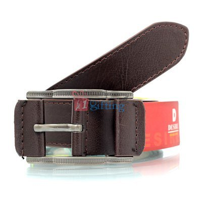 Double stitched brown genuine textured leather belt with  designer buckle