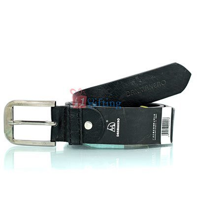 Danmaneao vintage look pure leather belt with round corner buckle